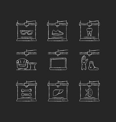 Additive manufacturing chalk white icons set vector