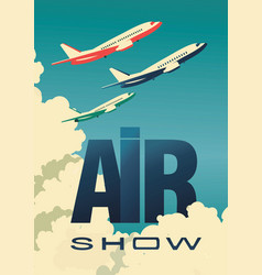 Air show poster airplane vector