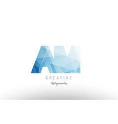 Am a m blue polygonal alphabet letter logo icon vector