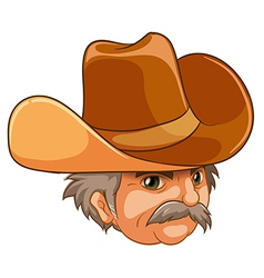 An old man wearing a cowboy hat vector image
