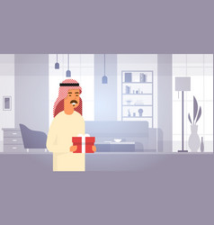 Arab business man holding present box entrepreneur vector