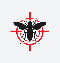 asian giant hornet icon red target vector image
