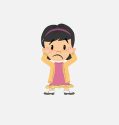 Asian girl surprised vector