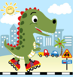 Big monster playing roller skate in a main city vector
