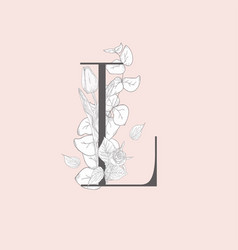 Blooming floral elegant l monogram and logo vector