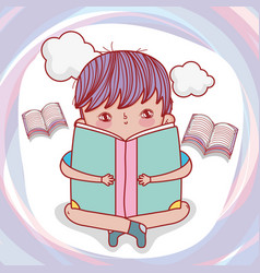 Boy read books with clouds to literature day vector