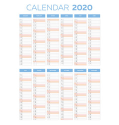 Business planner calendar template for 2020 vector