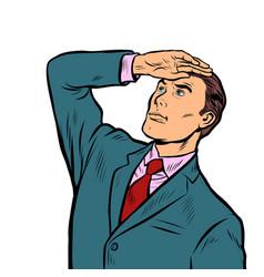 businessman leader looks far ahead vector image