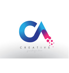 Ca letter design with creative dots bubble vector