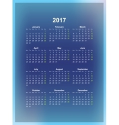 Calendar monthly 2017 vector