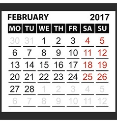 calendar sheet February 2017 vector image