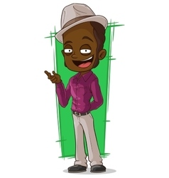 cartoon cool man in violet shirt vector image