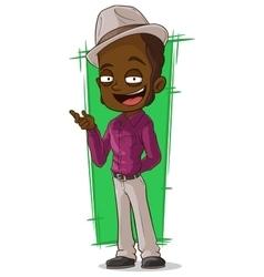 Cartoon cool negro in violet shirt vector