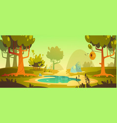 Cartoon forest background with pond swamp trail vector
