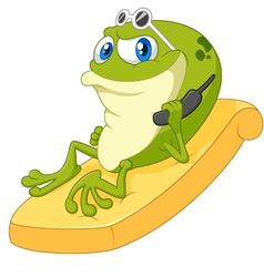 Cartoon frog relax vector image