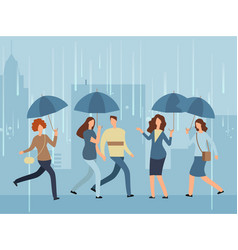 Cartoon people with umbrella walking the street vector