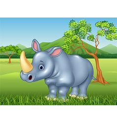 Cartoon rhinoceros in the jungle vector