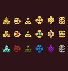 Celtic symbols in different variation cartoon set vector