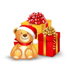 Christmas teddy bear sitting vector
