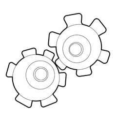 Cogwheel icon outline style vector
