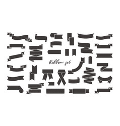 collection of black ribbon banners wavy and vector image