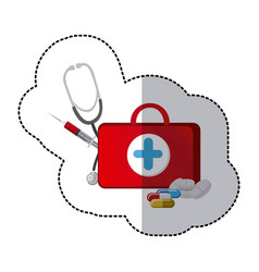 Color suitcase health with stethoscope syringe vector