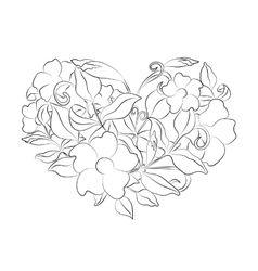 Coloring page flower heart Page with details vector