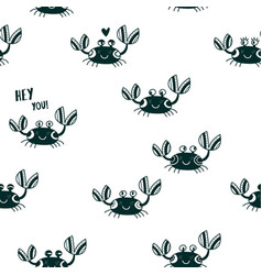 Cute emotional crabs seamless pattern black vector