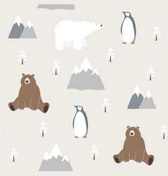cute festive christmas seamless pattern with bear vector image