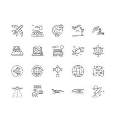 destinations line icons signs set vector image