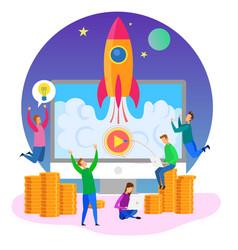 Development team startup launch rocket symbol vector