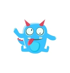 Dizzy Blue Monster With Horns And Spiky Tail vector