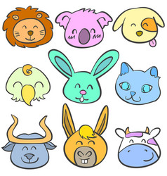 doodle of animal head colorful collection vector image