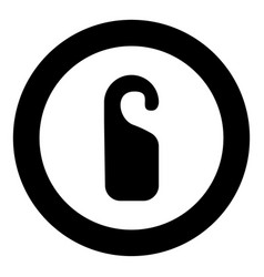 Door tag black icon in circle vector