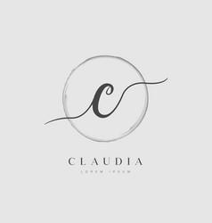 elegant initial letter type c logo vector image
