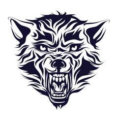 Emblem logo tattoo head a wolf vector
