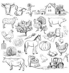 Farm collection - hand drawn set vector image