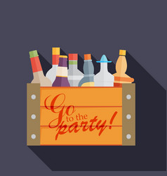 Flat bottles in a box with long shadow vector