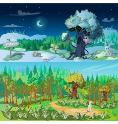 Forest Elements Banners Set vector image