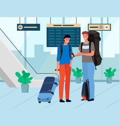 friends travelers with baggage in airport vector image