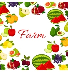 Fruits poster fresh farm fruit icons in round vector