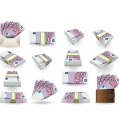 Full set of five hundred euros banknotes vector