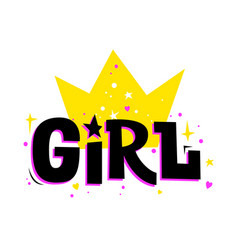 Girl with crown girly stylish print vector