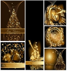 Gold Merry Christmas background collections vector