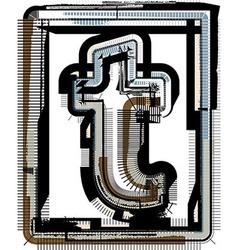 Grunge Font LETTER t vector image