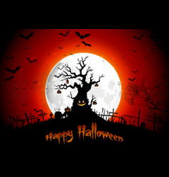 halloween background on the full moon vector image