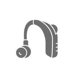 Hearing aid receiver in ear canal gray icon vector
