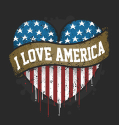 i love you america usa flag artwork vector image