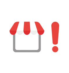 icon concept of shop store with exclamation mark vector image