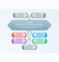 infographics template with 7 structure elements vector image